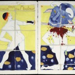 Theseus Slays the Minotaur, 2003, gouache on paper, 18 ¼ x 22 ½ inches