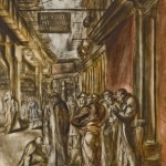 Reginald Marsh,The Bowery Drunks1947 (back side) 1948(front side),tempera, 48 x 30 inches