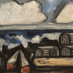 Marsden Hartley,Lobster Pots and Buoys, 1936, oil,10 x 24 inches