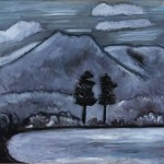 Marsden Hartley Mt. Katahdin, Winter,1939, 1940, oil on panel, 4 x 29.5 inches