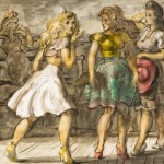 Reginald Marsh, On The Boardwalk, Coney Island, 1946, Tempera. From the permanent collection of Ogunquit Museum of American Art (OMAA). All rights Reserved. No Usage Rights Granted Without Prior Written Permission From OMAA.