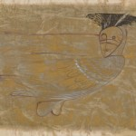 Morris Graves, Bird with Spirit Mask, 1953, tempera & gold leaf, 25 x 42.5