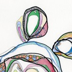 Diane Saunders,  Chiasmata, 2011,  site-specific drawing installation, variable dimensions,  watercolor, pen, marker, pastel, colored pencil, and collage on pape