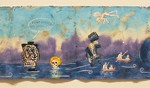 Enrique Chagoya Illegal Aliens Guide to the Surplus of Nothingness,  2009  watercolor, ink, transfers on amate paper  13 1/2 x 93 1/4 inches  Courtesy of George Adams Gallery, New York