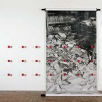 Order (The Red Guards), 1999  Acrylic on paper, automobile lacquer on steel, wood,  125 x 213 x 30 in (318 x 541 x 77 cm)  Courtesy of the artist
