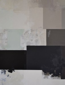 Claire Banks, How Deeply This (detail), Paint chips, newpaper, Dura-Lar, wallpaper samples, and oil on papel, 24 x 18