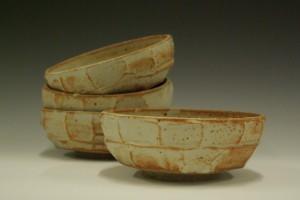 Catherine Elliott, untitled, glazed stoneware bowls, reduction fired to cone 10