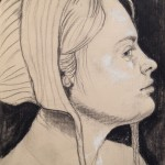 Ellie McDonald, After Hans Baldung, sister (detail), charcoal on paper, charcoal on paper, 8 x 6