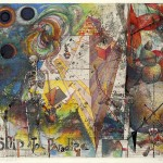 Robert S. Neuman, Ship to Paradise Paradise - Found, 1983, acquatint with mixed media, Courtesy of the Currier Museum of Art