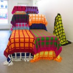 "24 Hours, no. 2, 2005, handwoven blankets, stretchers, mannequin, 6'3"" x 17'8"" x 5'3"", Galerie Expeditie, Amsterdam"