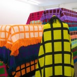 "24 Hours, no. 2 (detail), 2005, handwoven blankets, stretchers, mannequin, 6'3"" x 17'8"" x 5'3"", Galerie Expeditie, Amsterdam"
