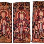 Yao, Three Pure Ones, from a set of 17 Daoist Shaman Scroll Paintings, 1845, Ca. 44 x 18 inches each