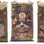 Yao, Supplemental set of three Buddhist Shaman Scroll Paintings: Three Bodhisattvas: Samantabhadra, Avalokitesvara, Manjusri, ca. 19 x 10 ¼ inches each