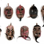Yao, Shaman Masks, wood, paper hair and mixed media