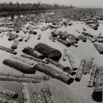 Berenice Abbott, Log Run, View from Boat, c. 1965, gelatin silver print, Museum purchase
