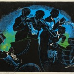 Lila Oliver Asher, Basin Street Blues, n.d., Linocut, A/P Permanent loan from the Jean and Robert Steele Collection