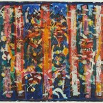 David C. Driskell, Five Blue Notes, 1980, Encaustic and egg tempera on board, Gift of Nene Humphrey