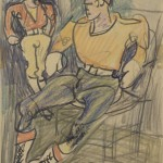Carl Sprinchorn, Two Hunters [Waiting at Ted Crommett's for Tote Team], 1941, colored crayon on paper