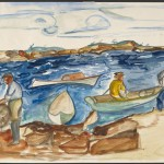 Chenoweth Hall, Fisherman at Petit Point Manan, 1936, watercolor