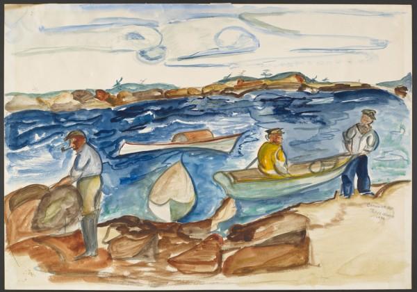 Chenoweth Hall, Fisherman at Petit Point Manan, 1936, watercolor