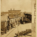 John Heagan Eames, Bank Square, Boothbay Harbor, Maine, 1934, etching