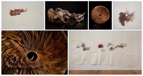 Top, L to R: Dawn Clements, Brown bracelet, 2008, shellac-based ink on paper, 10 7/8 x 19 1/16 inches; Marc Leuthold, Rhino (after Dawn Clements' Bracelet), 2008, woodfired stoneware, 10 inches wide; Marc Leuthold, Rhino Wheel (after Dawn Clements' Bracelet), 2008, woodfired stoneware, 11 inches diameter; Dawn Clements, after M. Leuthold's brown bracelet/rhino sculpture, 2008, shellac-based ink on paper, 16 1/4 x 15 inches. Bottom, L to R: Dawn Clements, Mar Leuthold's Sculptures on my Table, 2010, gouache on paper, 67 x 159 inches;Marc Leuthold, Rhino Wheel (after Dawn Clements' Bracelet), 2008 (detail).