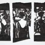 Dawn Clements, 3 Views of a Woman from Last Year at Marienbad, Sumi ink on paper