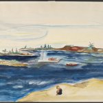 Chenoweth Hall, Beach at Corea, Maine, 1936, watercolor on paper, 13 x 20 inches.  Gift of Miriam Colwell. 1996.30.2.