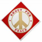 Shout for Peace (Red/Gold),  2014, color silkscreen and gold metallic ink on Coventry paper, Edition: I/XXII, 38 x 38 inches