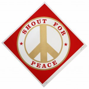 Shout for Peace (Red/Gold)​,  2014​, ​color silkscreen and gold metallic ink on Coventry paper​, Edition: I/XXII​, 38 x 38​ inches​