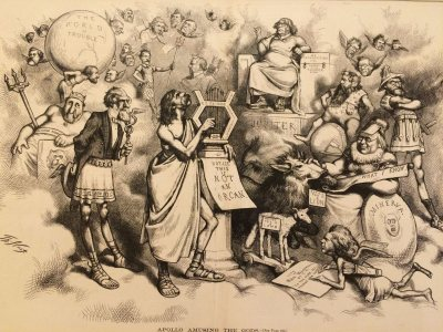 Thomas Nast, Apollo Amusing the Gods, 1872, American Wood engraving, 16 inches x 22 inches, Gift of Richard and Ruth Hathaway, '55