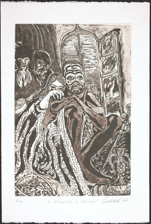Curlee Raven Holton, Knowledge of Betrayal from Re-Imagining Othello in Sepia, 2012, etching, aquatint, dry point on paper, 22 1/2 x 15 inches, Museum purchase with the Leander W. Smith Fund and Elizabeth A. Gregory MD '38 Fund