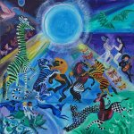 Blue Moon Dance, 2014, oil on linen, 30 x 30 inches, Courtesy Rachel Walls Fine Art