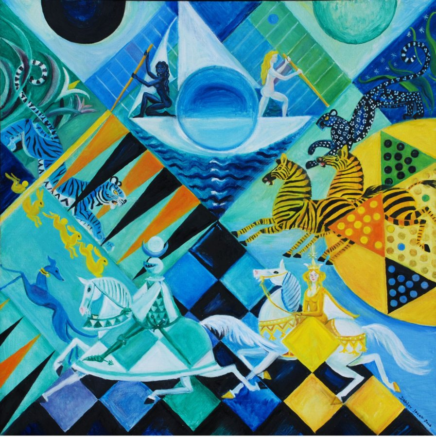 Blue Moon Games, 2006, oil on linen, 30 x 30 inches, Private Collection