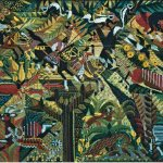 Golden Jungle, 1982, Needlepoint, 30x 40 inches, Courtesy Rachel Walls Fine Art