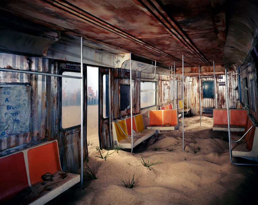 Lori Nix/Kathleen Gerber, Subway, 2012, archival pigment print, 40 x 50 inches, courtesy of ClampArt, New York City