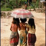 Peter Turnley, Cambodian Refugees in a Refugee Camp on the Border in Thailand, 1988, Archival Pigment Print, 24 x 20 inches, Bates College Museum of Art, Gift of John and Claudia McIntyre