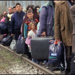 Peter Turnley, Refugees from the War in Kosovo, Macedonia, 1999, Archival Pigment Print, 20 x 24 inches, Bates College Museum of Art, Gift of Chris and Whitney Campbell