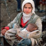 Peter Turnley, Kurdish Refugees near the end of the Gulf War Southern Turkey, 1991, Archival Pigment Print, 24 x 20 inches, Bates College Museum of Art, Gift of Chris and Whitney Campbell
