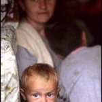 Peter Turnley, Refugees from Kosovo, Albania, 1999, Archival Pigment Print, 24 x 20 inches, Bates College Museum of Art, Gift of Chris and Whitney Campbell