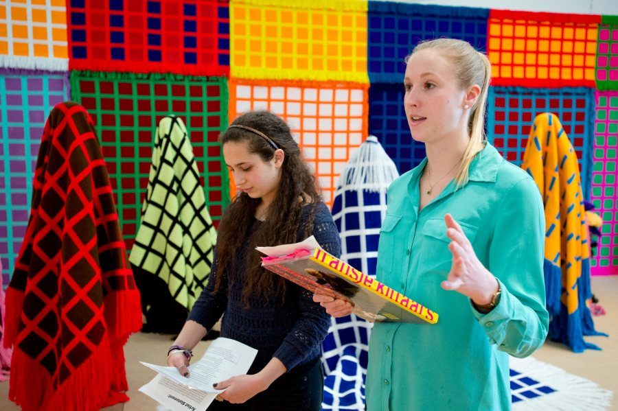 Eliza Pyne '13 , right, and Irem Ikilizer speak during a gallery tour on March 15, 2013. Pyne and Ikilizer were interns for the artist Fransje Killaars as she installed her exhibition.