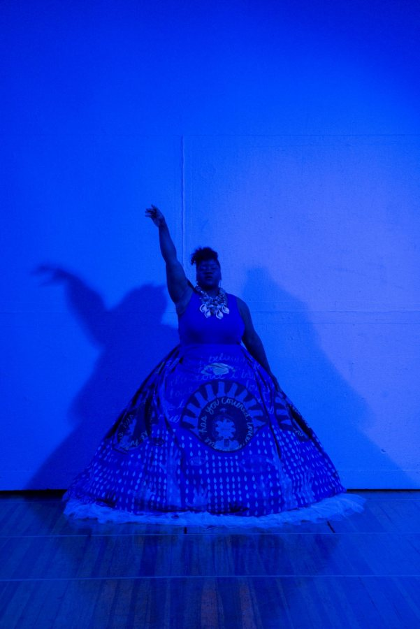 Vanessa German performing in Aetna Theater, Wadsworth Atheneum Museum of Art, Hartford, CT, 2016. Photo: Allen Phillips / Wadsworth Atheneum