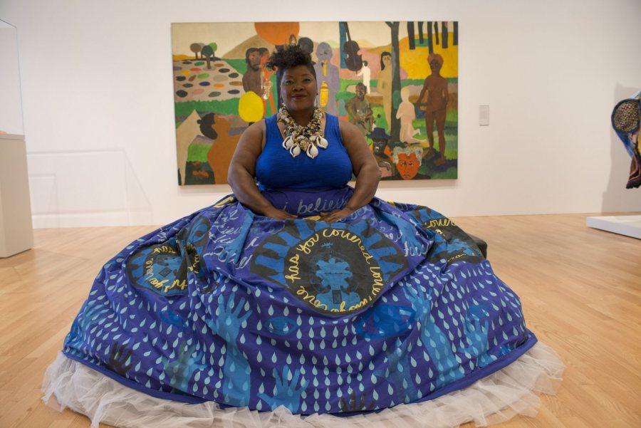 Vanessa German in Avery Court, Wadsworth Atheneum Museum of Art, Hartford, CT, 2016. Photo: Allen Phillips / Wadsworth Atheneum