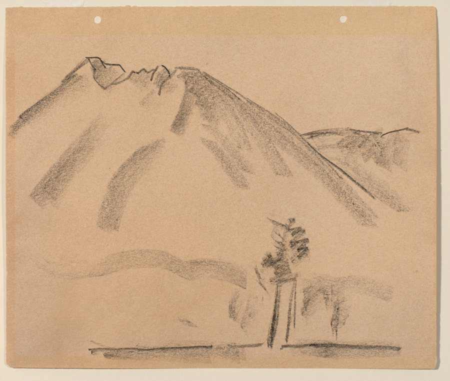 Marsden Hartley, Mount Katahdin No.1, 1939, Charcoal on paper, 12 x 14 in., Bates College Museum of Art, Museum Purchase with The Elizabeth A. Gregory, M.D. '38 Fund, 2014.4.1