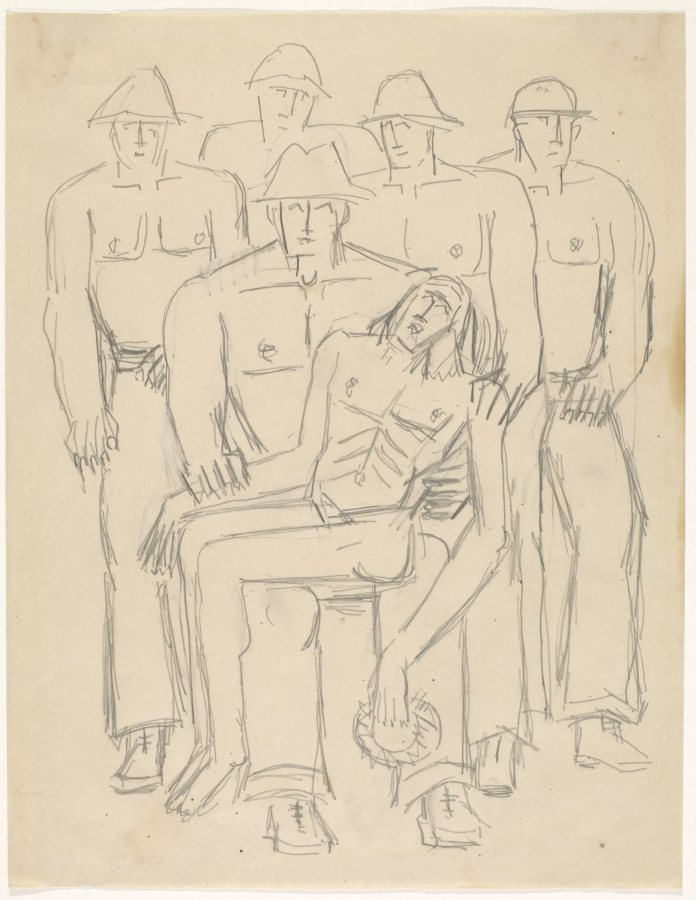 Marsden Hartley, [Preliminary drawing for Christ Held by Half-Nakes Men], c. 1942, Graphite on paper, 11 x 8 1/2 in., Bates College Museum of Art, Marsden Hartley Memorial Collection, Gift of Norma Berger, 1955.1.80