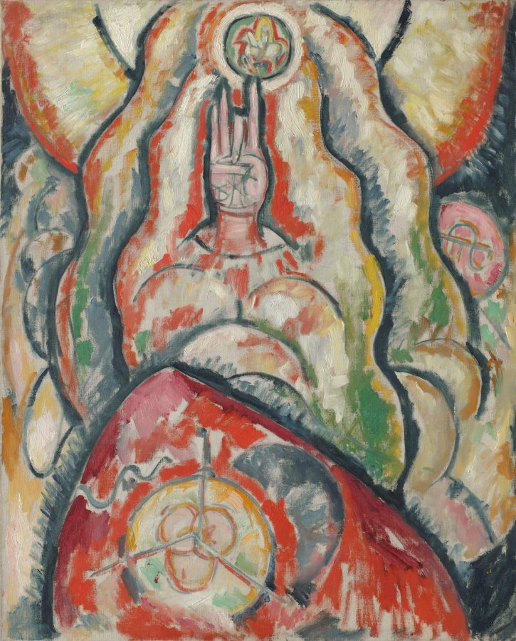 Marsden Hartley, Portrait Arrangement No. 2, 1912-13, Oil on canvas, 39 1/2 x 31 3/4 in., 54 1/2 x 46 1/2 x 2 1/2 in., Vilcek Collection, 2005.09.01
