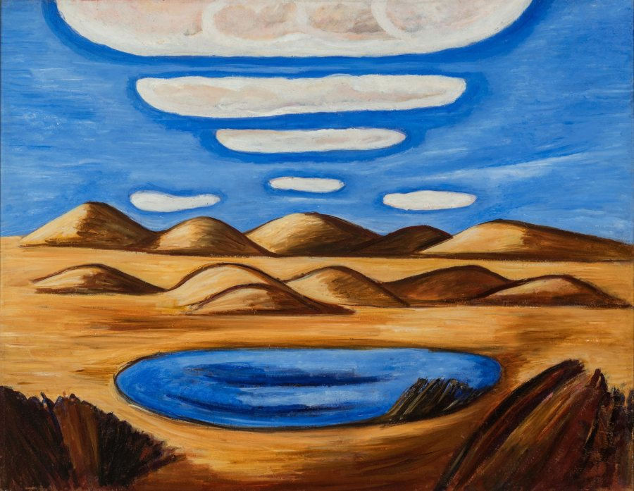 Marsden Hartley, Lost Country - Petrified Sand Hills, 1932, Oil on Masonite, 22 1/4 x 28 1/2 in., 32 1/4 x 38 1/2 in., Vilcek Collection, 2018.01.01