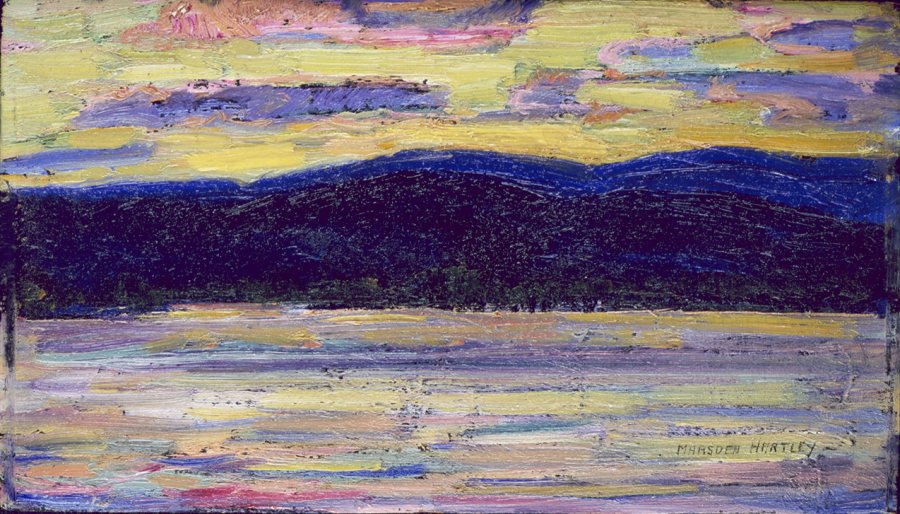 Marsden Hartley, Sundown, Kezar Lake, July 14, 1910, Oil on panel, 5 3/4 x 9 3/8 in., Bates College Museum of Art, Marsden Hartley Memorial Collection, Gift of Norma Berger, 1955.1.101