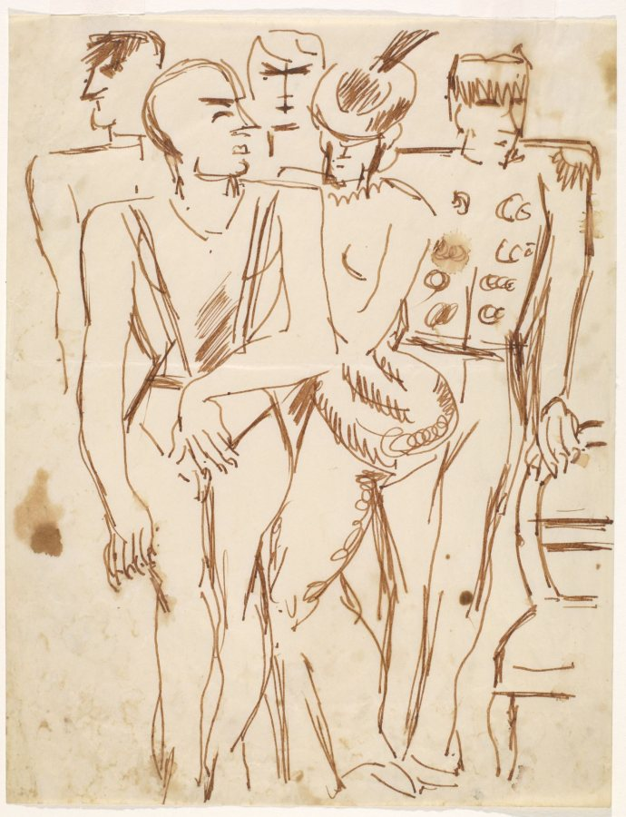 Marsden Hartley, [Group of Five Standing Figures], 1930s, Sepia ink on paper, 11 x 8 1/2 in., Bates College Museum of Art, Marsden Hartley Memorial Collection, Gift of Norma Berger, 1955.1.2.