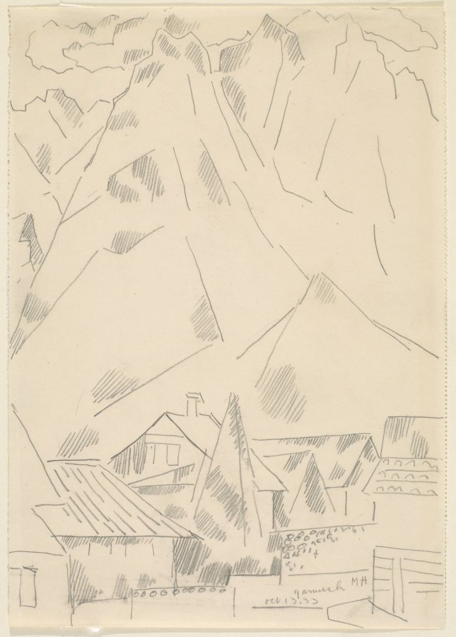 Marsden Hartley, Garmisch, October 13, 1933, Graphite on paper, 10 1/8 x 7 1/8 in., Bates College Museum of Art, Marsden Hartley Memorial Collection, Gift of Norma Berger, 1955.1.28